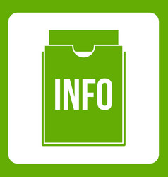 info folder icon green vector image