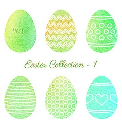 Set of watercolor Easter elements vector image