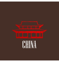 vintage with chinese building icon vector image vector image