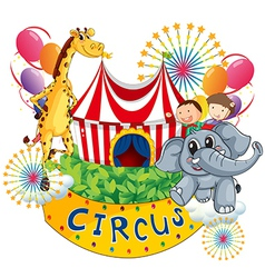 A circus show with kids and animals vector image