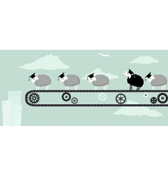 Black sheep in college vector image vector image