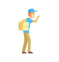 Delivery Guy With Big Backage Ringing The Door vector image vector image