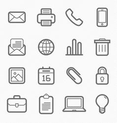 office elements symbol line icon set vector image vector image