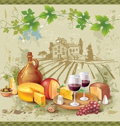 Still life of wine cheese and grapes vector image