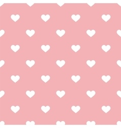 Tile pattern with white hearts on pastel pink vector image vector image