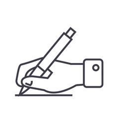 writing signhand with pen line icon sign vector image