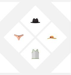 flat icon garment set of panama lingerie elegant vector image vector image