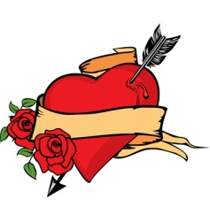 heart impaled by arrow vector image vector image