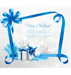 Holiday background with blue gift bow and gift vector image vector image