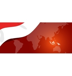 Indonesia map flag world red white location vector image vector image