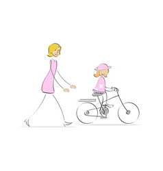 mother running behind girl cycling vector image