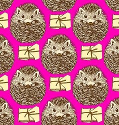 Sketch hedgehog and present in vintage style vector image