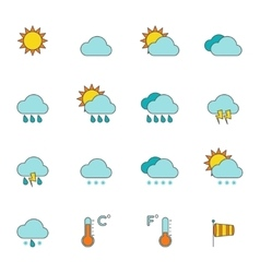 Weather outline icons flat vector image vector image