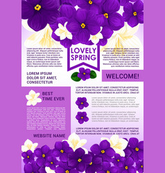 Welcome spring poster template with floral border vector