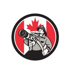 Canadian fireman canada flag icon vector