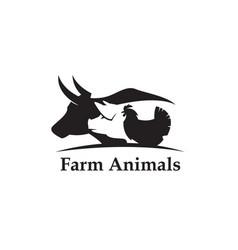 farm animals label vector image