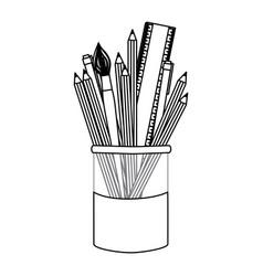 figure coloured pencils in jar icon vector image