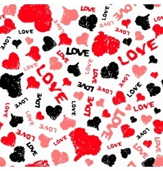 Hearts Valentine Background with Painted Love Word vector image vector image