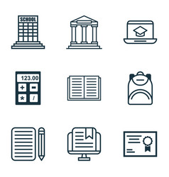 Set of 9 education icons includes distance vector