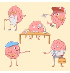 Set of cartoon cute brain character vector