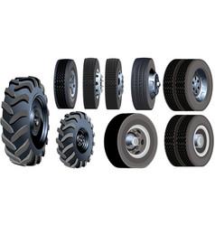 truck wheels set vector image vector image