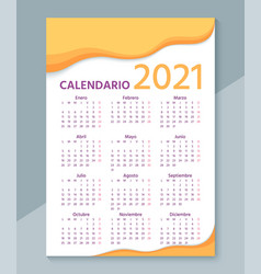 2021 spanish calendar week starts monday vector