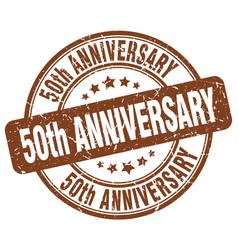 50th anniversary brown grunge stamp vector