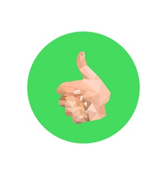 Abstract origami hand on green circle vector