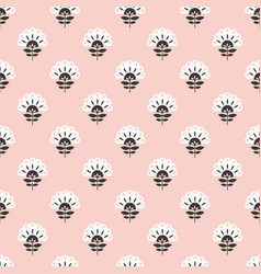 Abstract pink floral retro seamless pattern vector