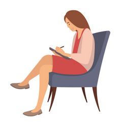 Adult woman is sitting on a chair and writing vector