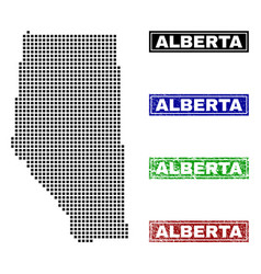 Alberta province map in dot style with grunge vector