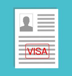 Approved visa application flat design documents vector