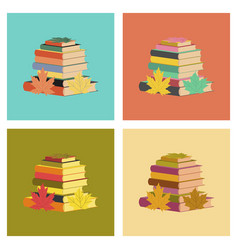 Assembly flat icons stack of books vector