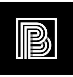 b capital letter made of stripes enclosed vector image