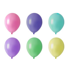 balloon set of colored realistic rubber balloons vector image