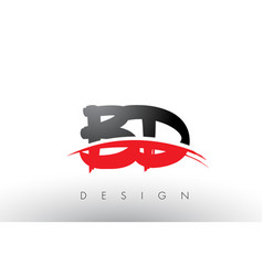 Bd b d brush logo letters with red and black vector