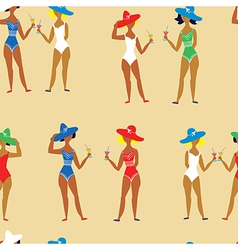 Beach girl and cocktails funny seamless pattern vector image
