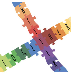 better together logotype design made puzzle vector image