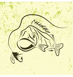 Big mouth bass on grunge background vector