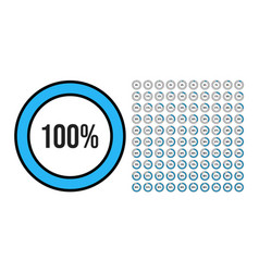 big set circle percentage diagrams from 0 to vector image