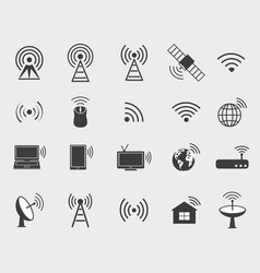 black wireless icons vector image