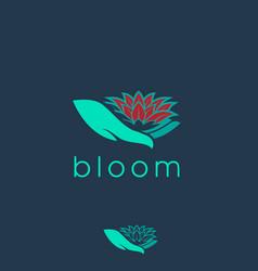 bloom on hand symbol vector image