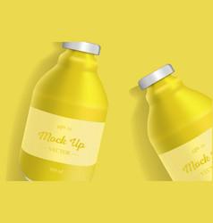 Bottles of pineapple or lemon juice vector