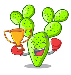 Boxing winner cartoon the prickly pear opuntia vector