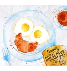 Breakfast smile eggs vector image