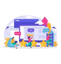 business gamification flat composition vector image