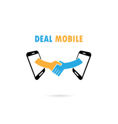 Business people handshake through mobile phone vector