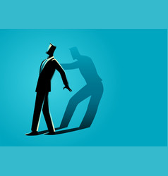 Businessman being pushed his own shadow vector