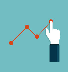 Businessman hand poiting growth graph flat design vector