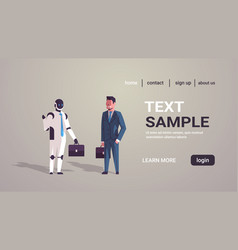 businessman standing with robotic character human vector image